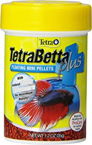 TetraBetta PLUS Floating Mini Pellets, Fish Food With Natural Color Enhancer