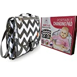 Portable Changing Pad for Diaper Bag | Extra Large, Comfy Baby Changing Pad for Small Babies & Toddlers | Waterproof & Wipeable | Comes with Head Cushion and 4 Storage Pockets | Non-Toxic & BPA-Free