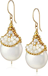 product image for Miguel Ases Fresh Water Pearl and Miyuki Pocketed Drop Earrings