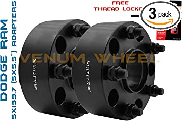 """2012-2017 Ram 1500 5x5.5 1.25/"""" Thick Black Hub Centric Wheel Spacers Adapters"""