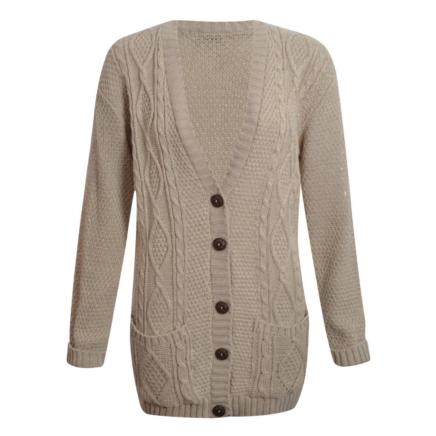 Womens Long Sleeve Chunky Cable Knitted Button Ladies Grandad Long ...