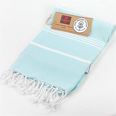 Organic Prewashed Cotton Turkish Beach Peshtemal Towels Best For Travel Camping Bath Sauna Boho Beach Towels Absorbent Stylish Eco Friendly Thin Towels 70x37 Inches Fair Aqua Kitchen Dining