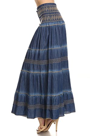discount for sale speical offer best deals on Fit and Flare Tiered Layers Denim Skirt or Midi Dress with ...