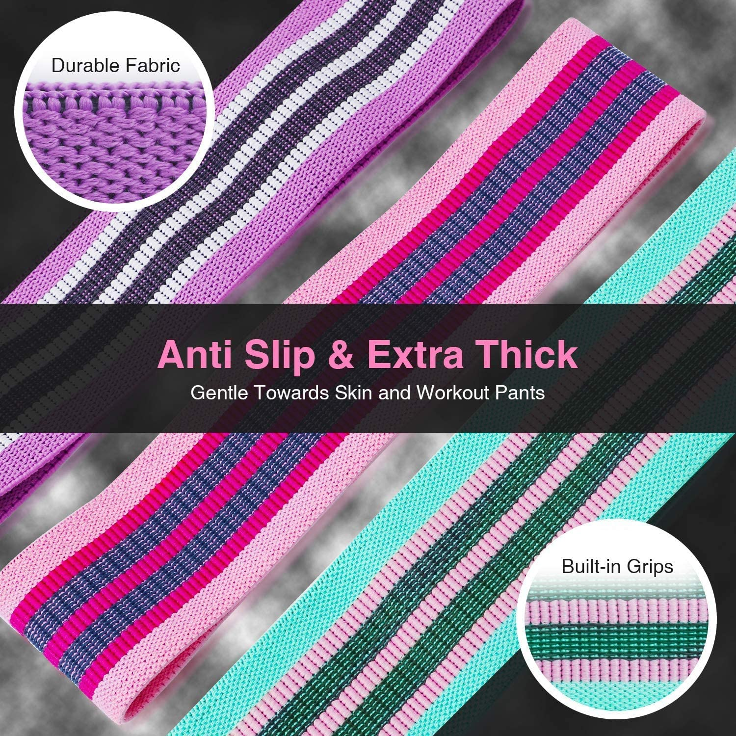 Glutes and Thighs Workout Legs Voniry Resistance Bands Fabric,Booty Exercise Bands Non Slip Hip Elastic Bands for Hip Thick Wide Fitness Loop Circle Resistance Bands for Men /& Women Set of 3 pack Butt