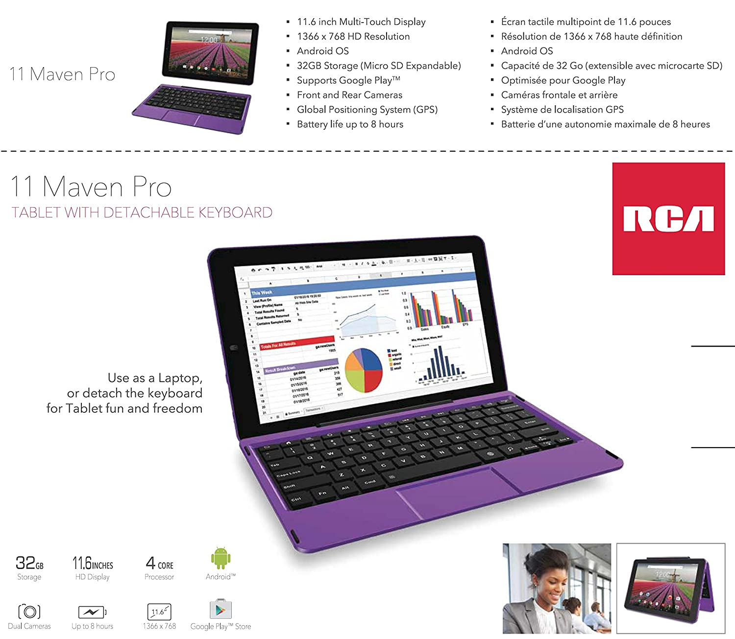 Rca 11 Marven Pro 116 Inch Tablet Quad Core 32gb1gb Ram Hdmi 6 Bluetooth Wifi With Detachable Keyboard Purple Computers Tablets