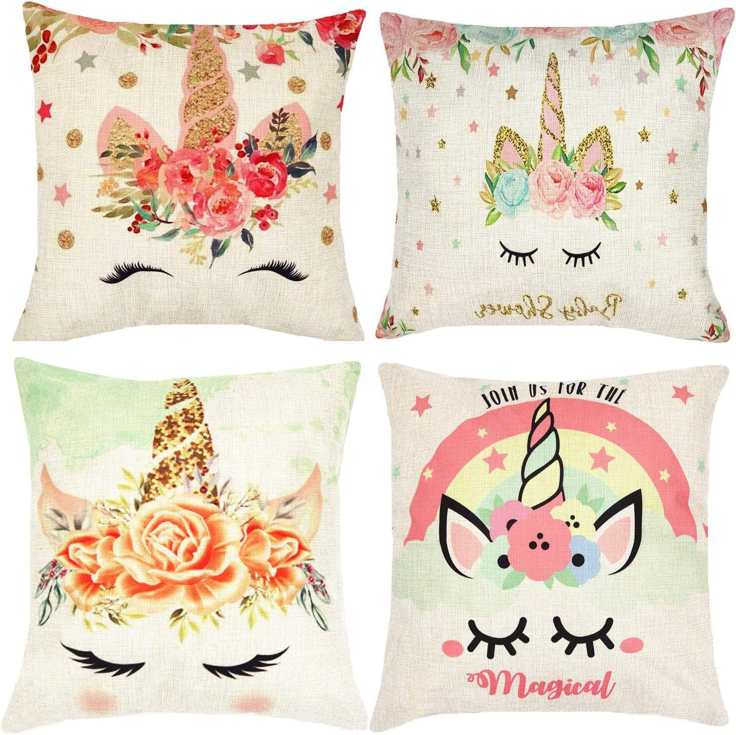 Munzong Set of 4 Unicorn Throw Pillow Covers 18 x 18 Inch, Cotton Linen Square Colorful Pink Wavy Hair for Girls Kids, Flower Cushion Covers for Baby Nursery Room, Home, Office Decor Birthday Gift