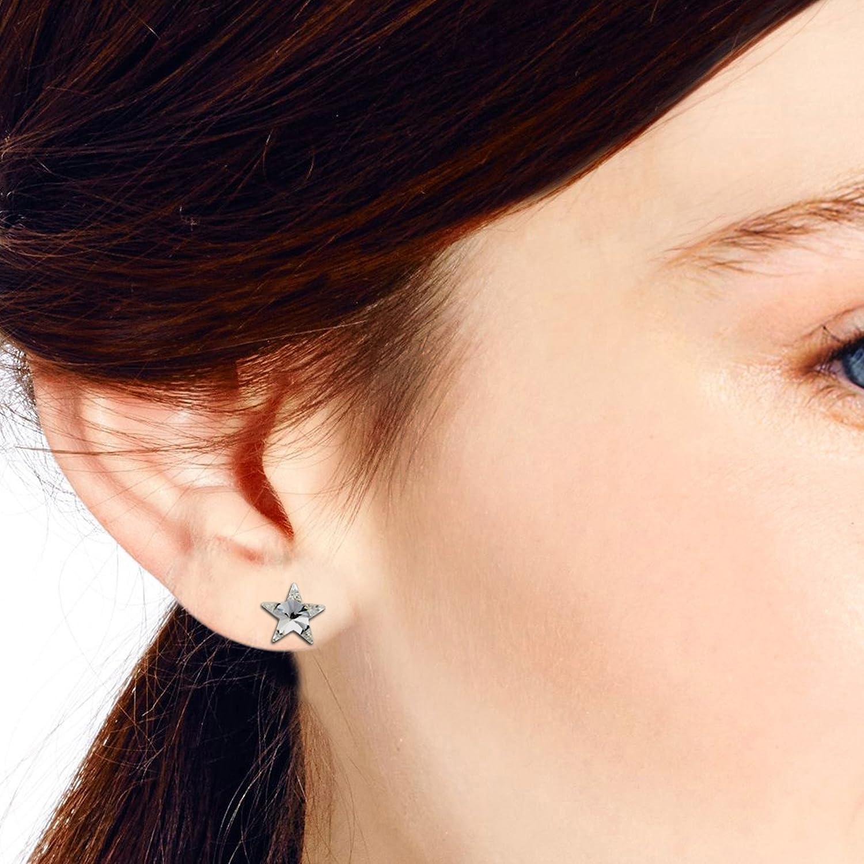 Prism Clear Crystal Star .925 Sterling Silver Stud Earrings