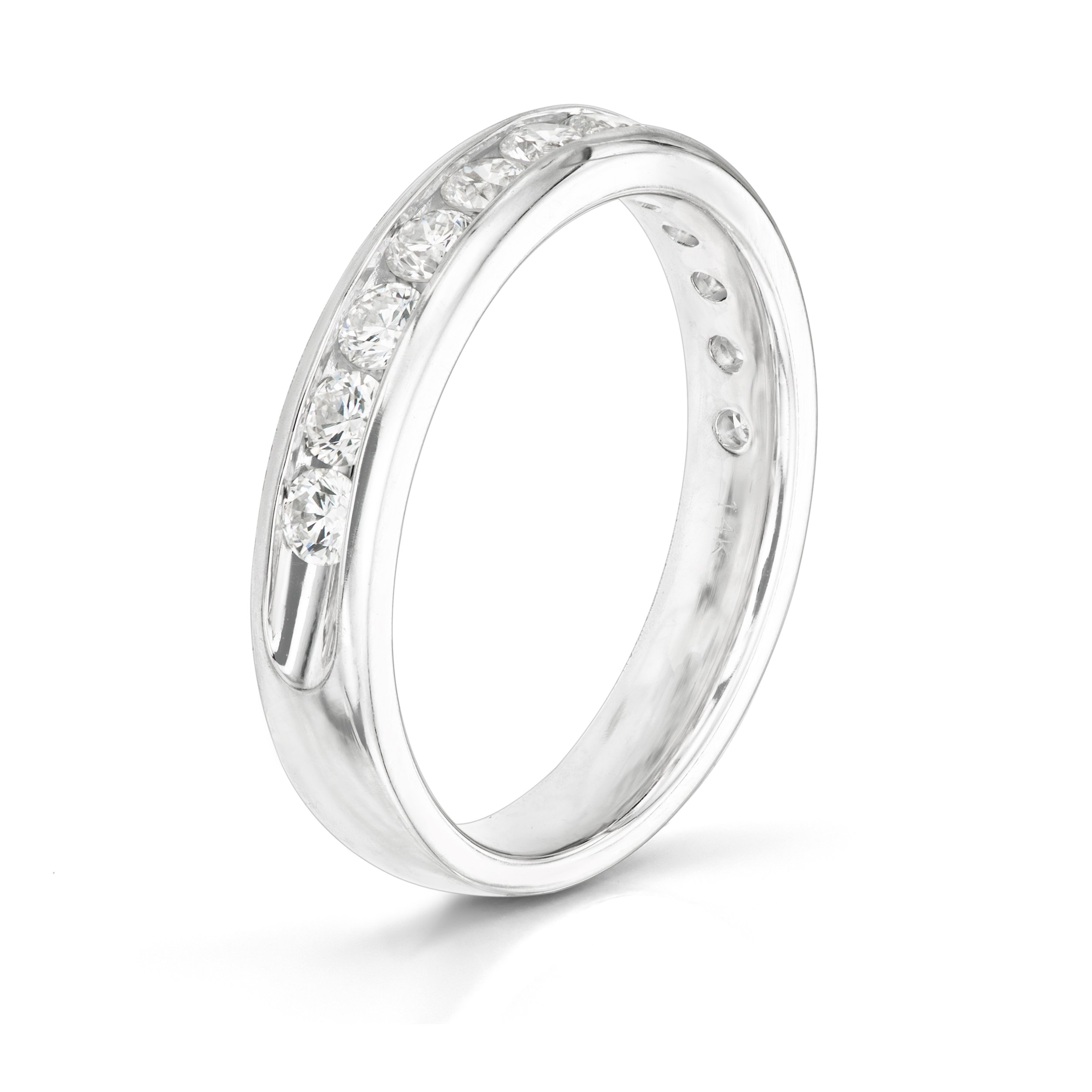 14KT White Gold 0.5ct G-I SI1/SI2 Channel Machine Set Wedding Ring by Uncle Sam's Collection (Image #3)