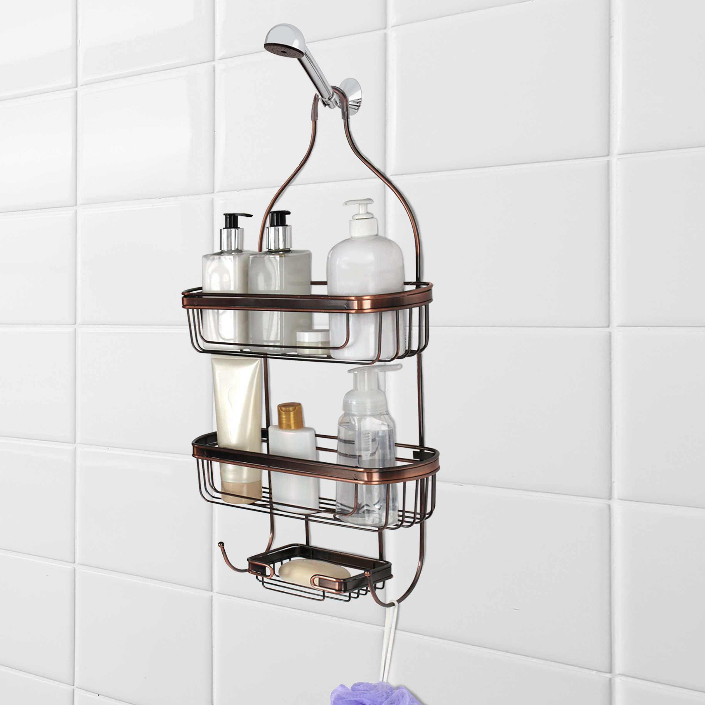 Splash Home Shower Caddy Bathroom Hanging Head with Two Basket Organizers Plus Dish for Storage Shelves for Shampoo, Conditioner and Soap, 24 x 15 x 12 Inches, Oil Rubbed Bronze