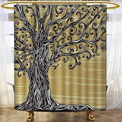 Anhounine Tree Of Life Shower Curtains Sets Bathroom Swirled Twists Rustic Oak Branches Spiritual Nature Eco