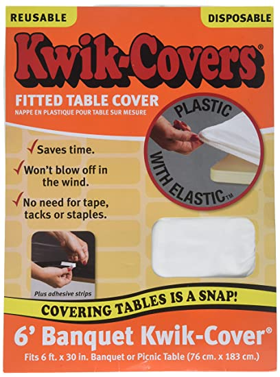 Amazon Com Kwik Covers White Plastic Fitted Table Cover 6ft X 30in