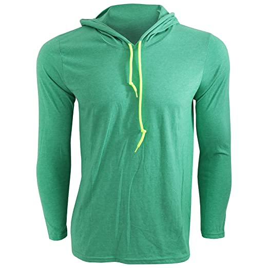 9b454af41 Anvil Mens Fashion Plain Long Sleeve Hooded T-Shirt (S) (Heather Green