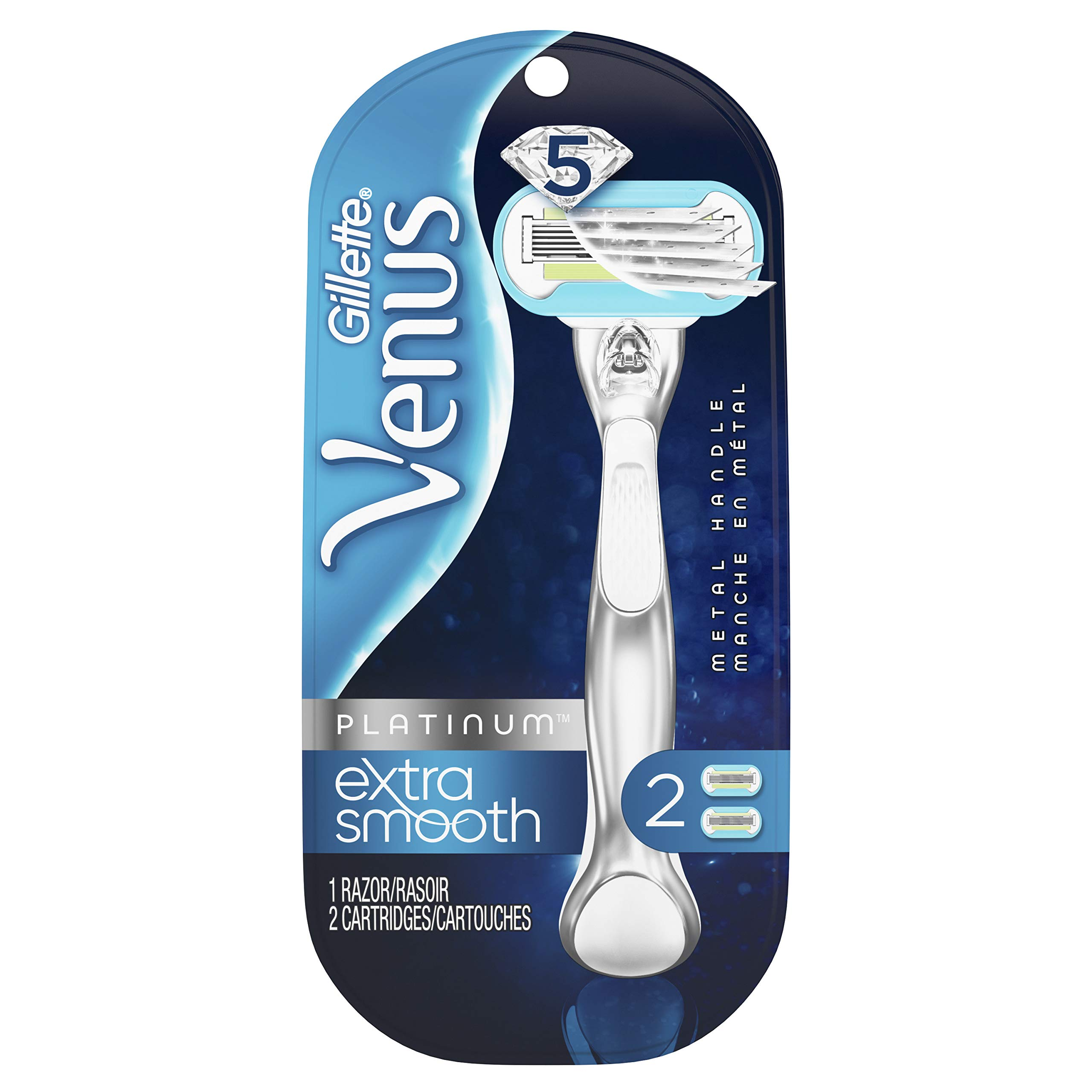Gillette Venus Platinum Extra Smooth Metal Handle Women's Razor - 1 Handle + 2 Refills