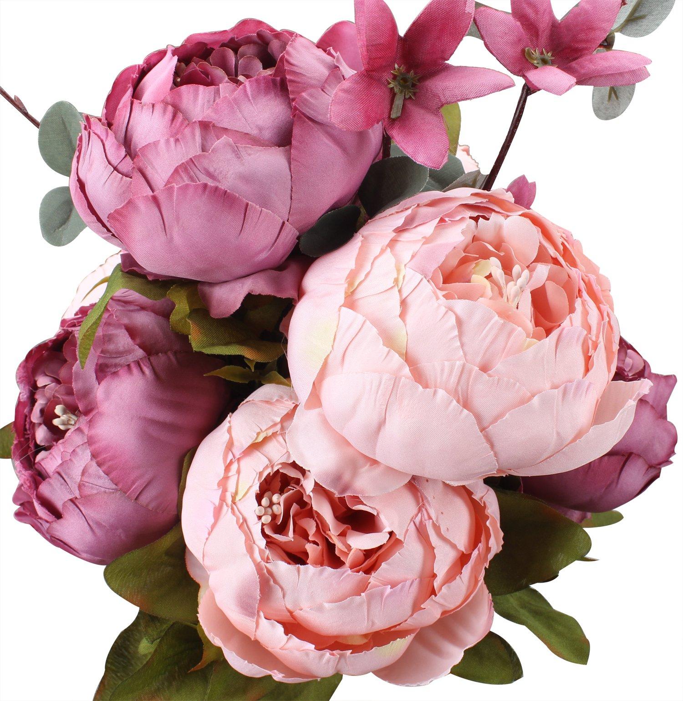 silk flower arrangements duovlo fake flowers vintage artificial peony silk flowers wedding home decoration,pack of 1 (new sweetened bean)