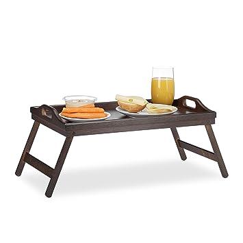 Relaxdays – Bandeja para la cama (bambú, plegable, asas, borde elevado,