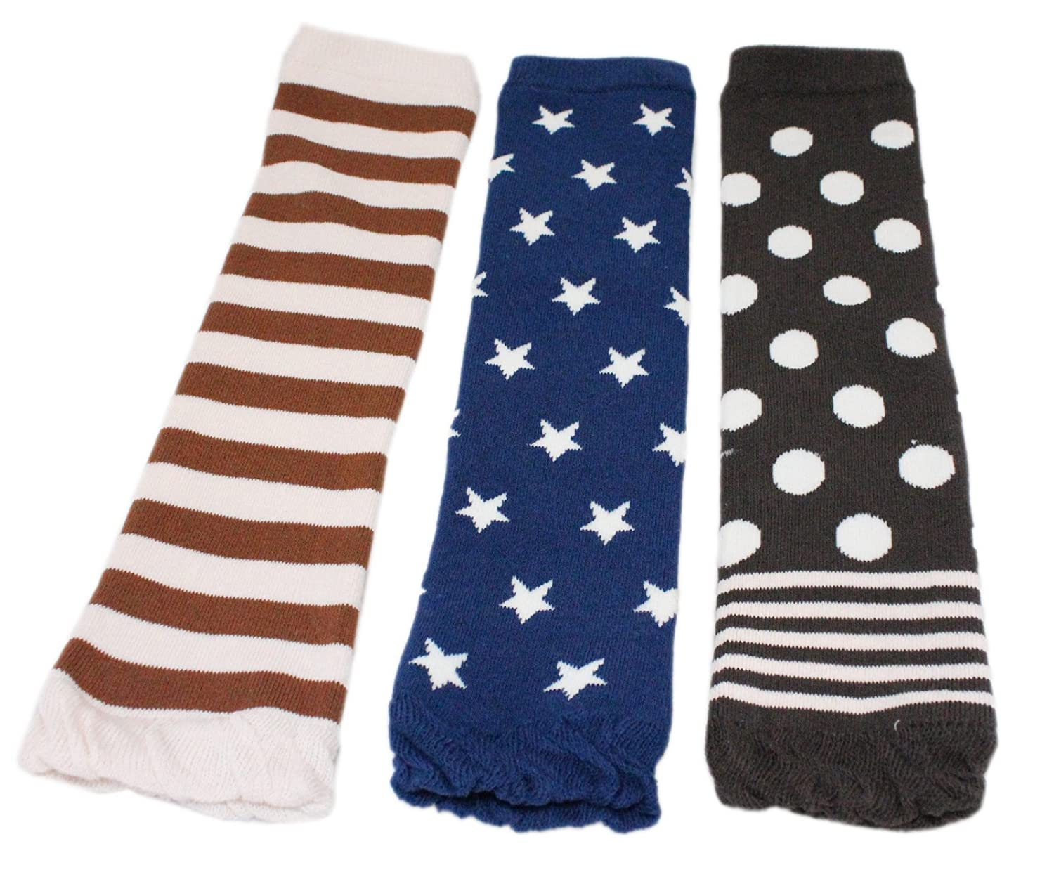 Baby Boys Girls Winter Thick Leg Warmer 3 Pairs - Blue Stars Stripe Polka Dot