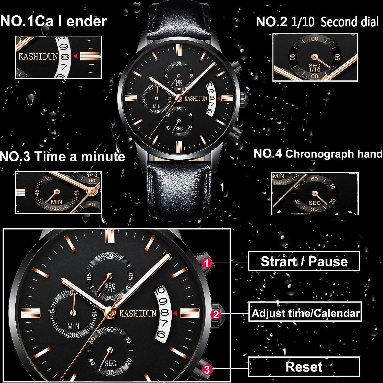 Kashidun Reloj para Hombre de cuarzo, luminoso, impermeable, con calendario, carcasa negra TL-JzHP.: Amazon.es: Relojes