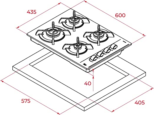 Teka | Placa Cristal Gas de 60 cm con mandos frontales ergonómicos | 4 x 60 x 43.5 cm: Amazon.es: Grandes electrodomésticos