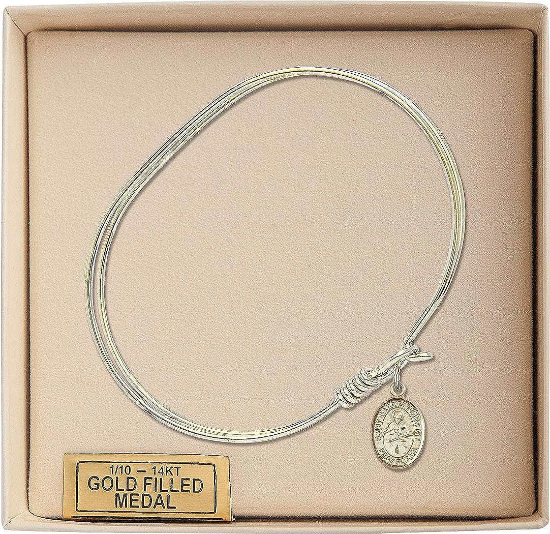 St Gabriel Possenti Charm On A 7 Inch Oval Eye Hook Bangle Bracelet