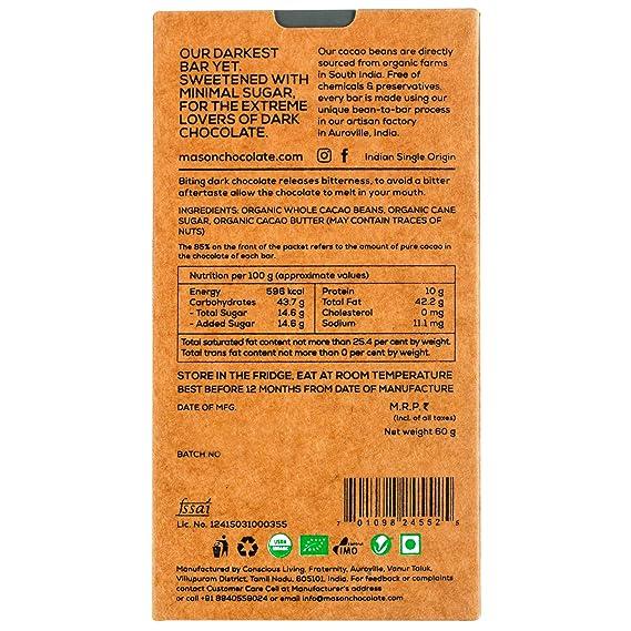 Mason & Co  Intense Dark Organic Chocolate Bar 70 Grams (Pack Of 2)
