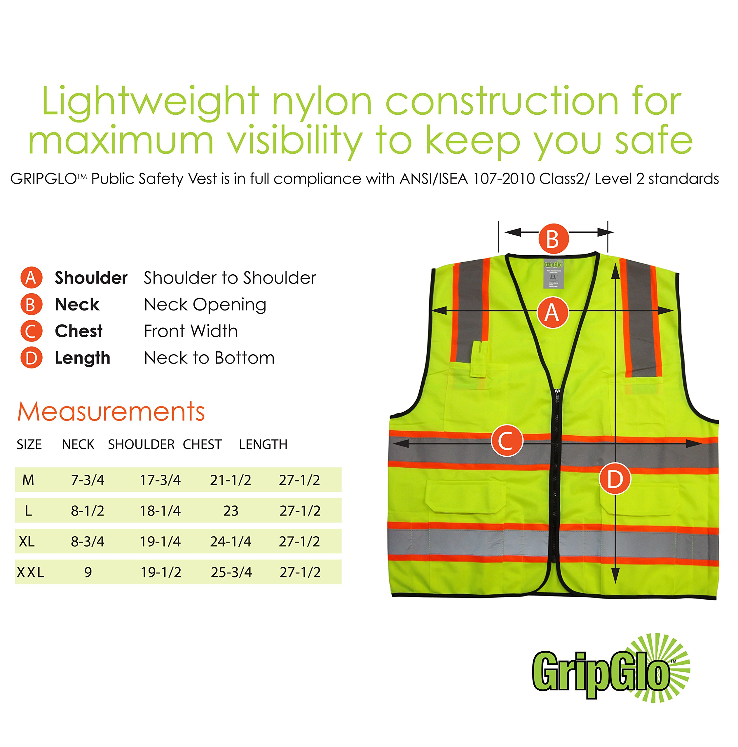 GripGlo TLS-432 Amazing High Visibility Reflective Safety Vest With 6 Multi-Functional Pockets Neon Lime Zipper Front, 2'' Reflective Strips With ORANGE TRIM For MAXIMUM VISIBILITY - Meets ANSI/ISEA 107-2010 - Class 2/Level 2 - Large by GripGlo™ (Image #5)