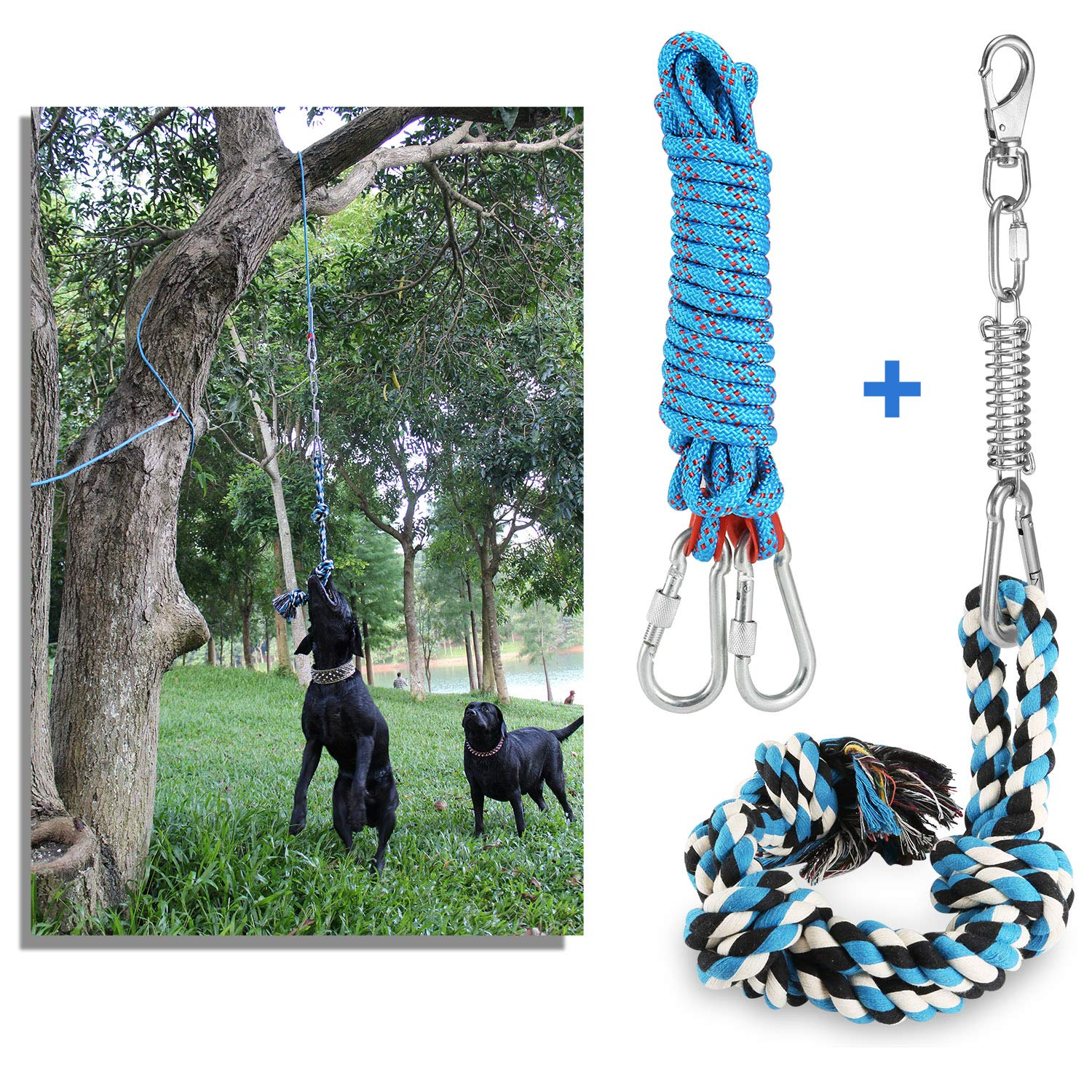 DIBBATU Spring Pole Dog Rope Toys with a Big Spring Pole Kit, Strong Dog Rope Toy and a 16ft Rope for Pitbull & Medium to Large Dogs Outdoor Hanging Exercise Rope Pull & Tug of War Toy-Muscle Builder by DIBBATU
