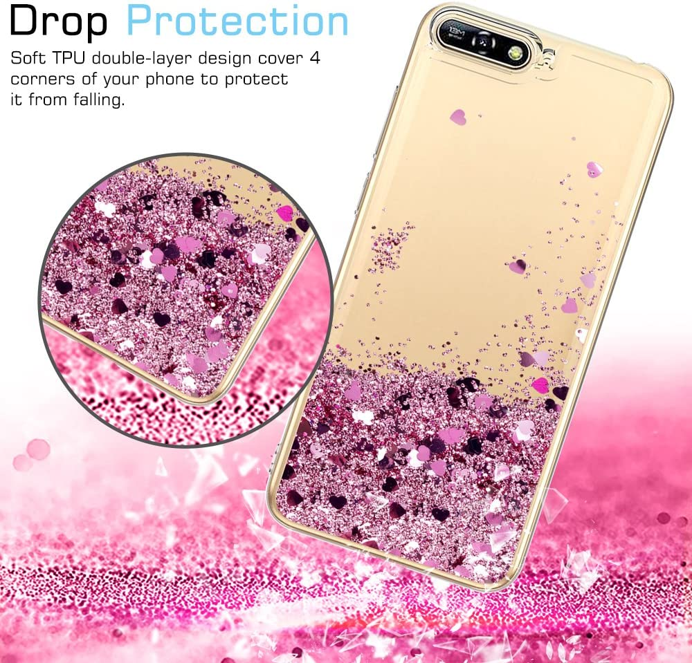LeYi Case for Huawei Y6 2018 with Screen Protector, Girl Women 3D Glitter Liquid Cute Personalised Clear Transparent Silicone Gel TPU Shockproof Phone ...