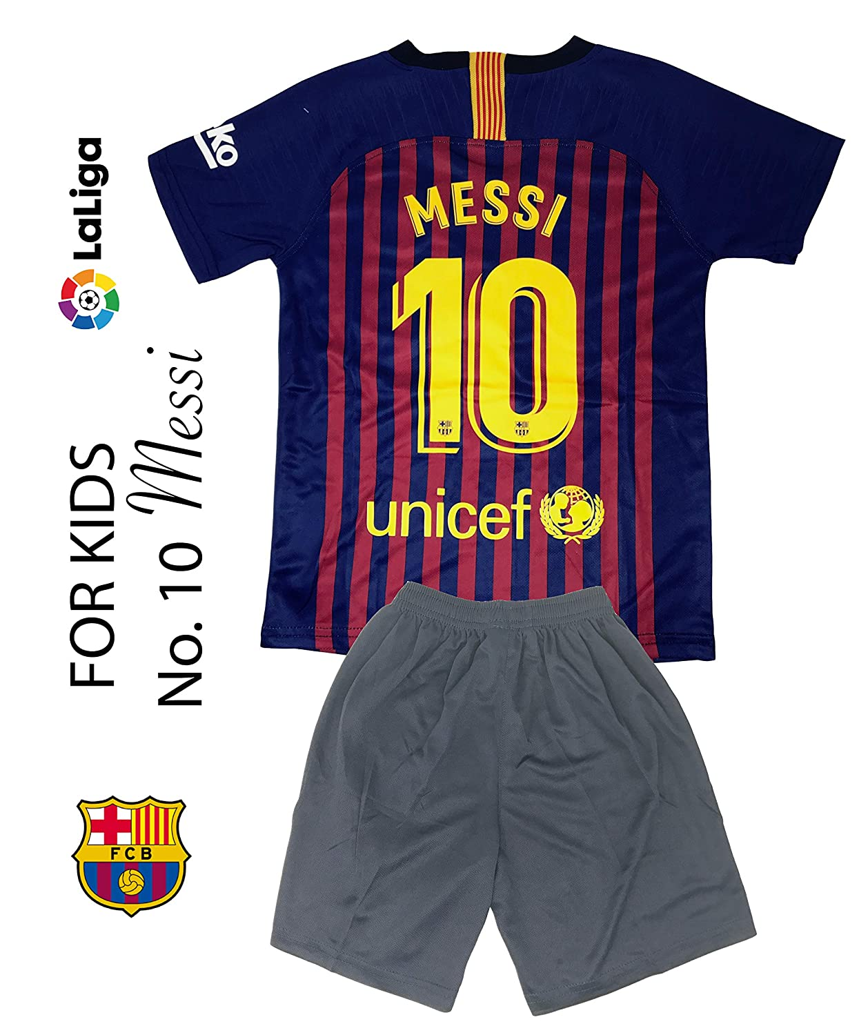 Amazon.com   The Soccer Jersey and Short for Kids on Season 2019 - Best  Soccer KIT for Kids - Juventus Ronaldo 7 - Barcelona FC 10 Messi - Real  Madrid 10 ... 178536d85