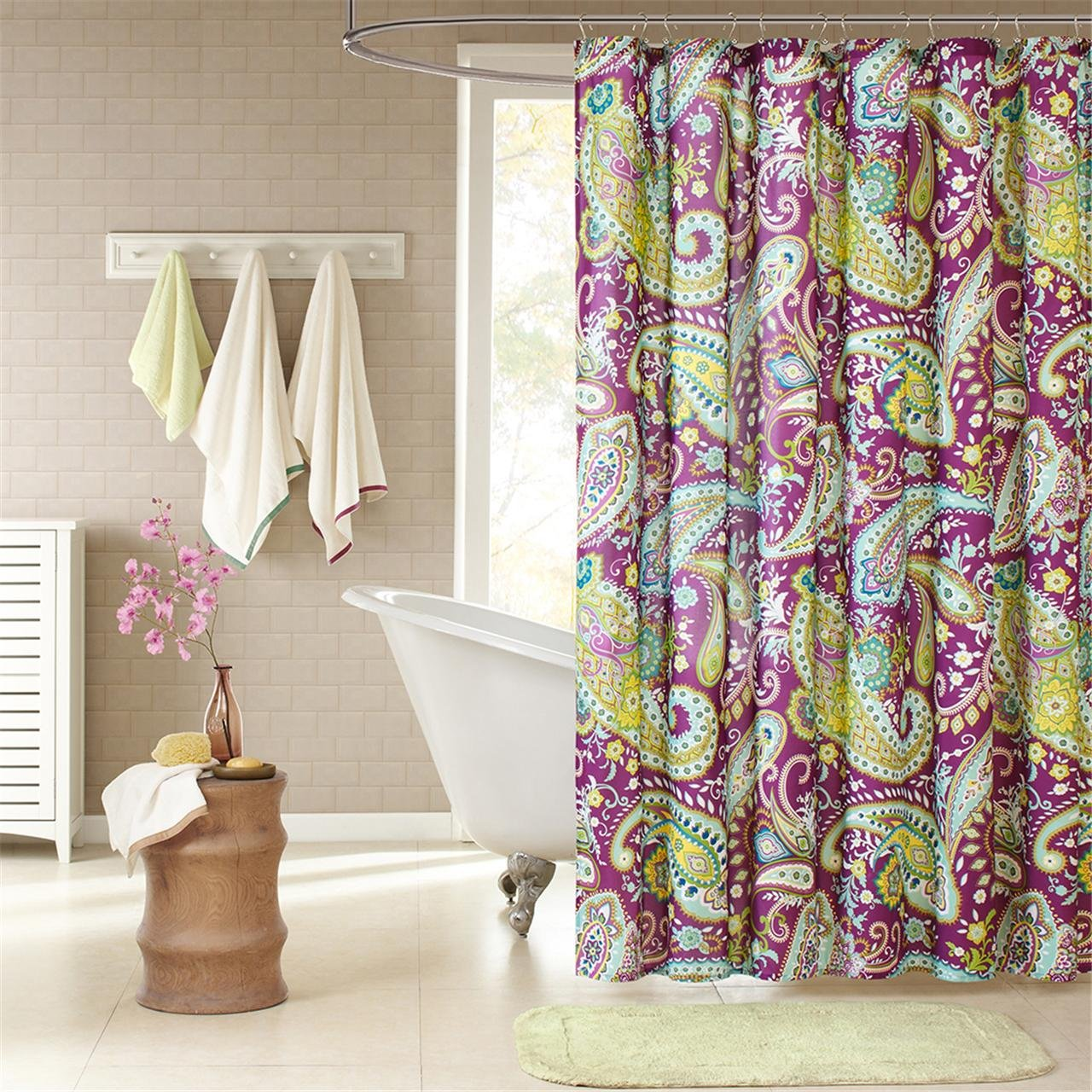 "Intelligent Design ID70-055 Melissa Shower Curtain, 72 x 72"", Purple"