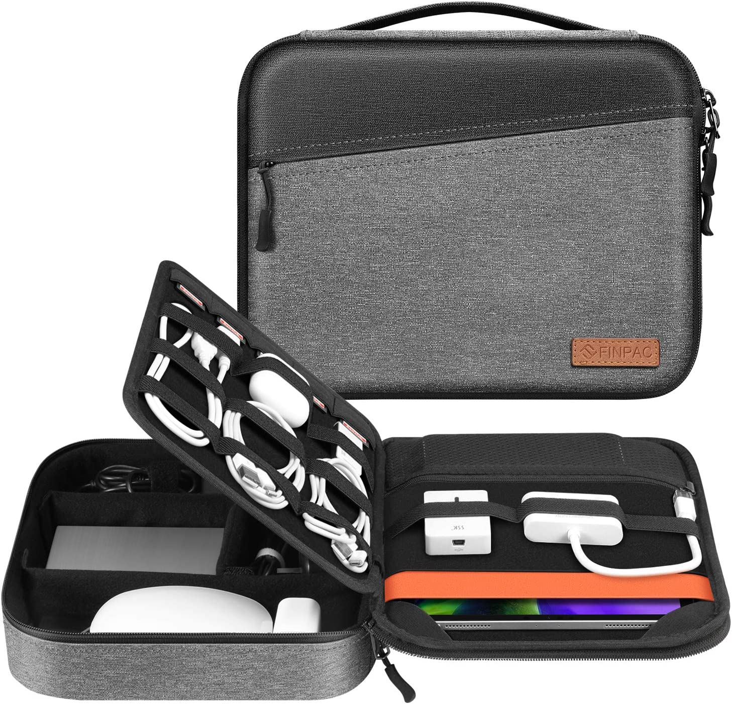 """Electronic Organizer Bag, FINPAC Portable Accessories Storage for Cable/Cord/Charger/Phone/USB/SD Card, Portfolio Tablet Sleeve Carrying Case for iPad Pro 11 in/10.2"""" New iPad/10.5"""" iPad Air/9.7"""" iPad"""