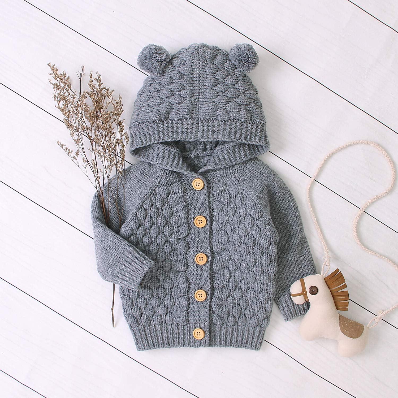 Newborn Infant Baby Girls Cute Long Sleeve Knitting Hooded Sweater Fall Winter Cardigan Bear Ear Outerwear