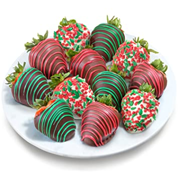 golden state fruit 12 merry christmas chocolate covered strawberries - Christmas Chocolate Covered Strawberries