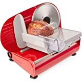Andrew James Electric Food Slicer For Home Use - Made from Aluminium & Steel with Three 19cm Interchangeable Blades for Vegetables Bread & Meat - Plastic Blade Guard Non-Slip Feet End Piece Holder & Quiet 150W Motor