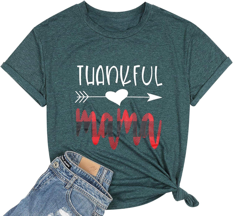 Mama Shirts for Women Thankful Mama Letter Printed Tshirts Thanksgiving Short Sleeve Tee Tops
