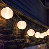 Mini Lantern String Lights - 10 White Nylon Hanging Lanterns with Warm White Bulbs Included, 7 Feet Long, Waterproof for…