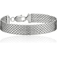 Amazon Collection Sterling Silver 12mm Italian Mesh Bracelet