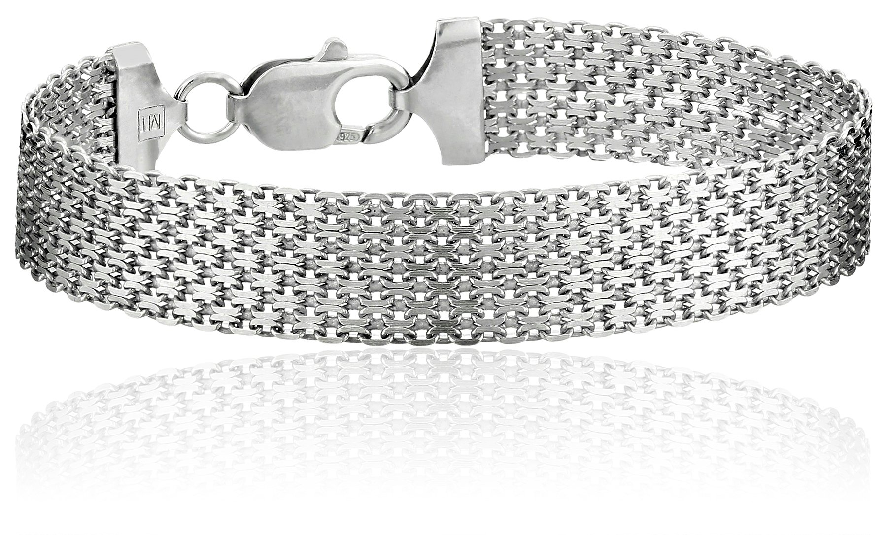 Sterling-Silver-12mm-Italian-Mesh-Bracelet