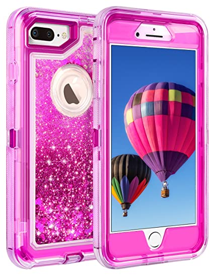 Coolden Case for iPhone 8 Plus Case Protective Glitter Case for Women Girls  Cute Floating Liquid 510acccb2