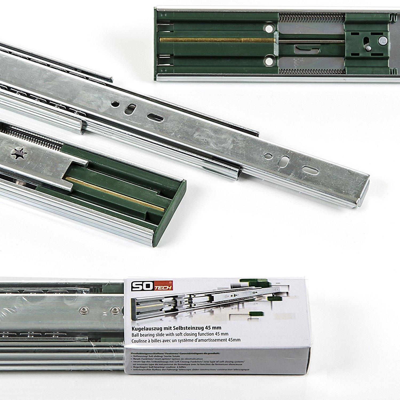 1 Paar (2 Stück) SO-TECH Vollauszüge mit SoftClosing H 45 / L 350 mm ...