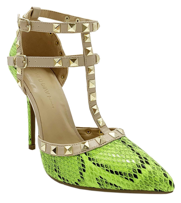 ad6e36e5da Wild Diva Womens Pointy Toe Gold Stud Strappy Ankle T-Strap Stiletto Heel  Pump Sandal