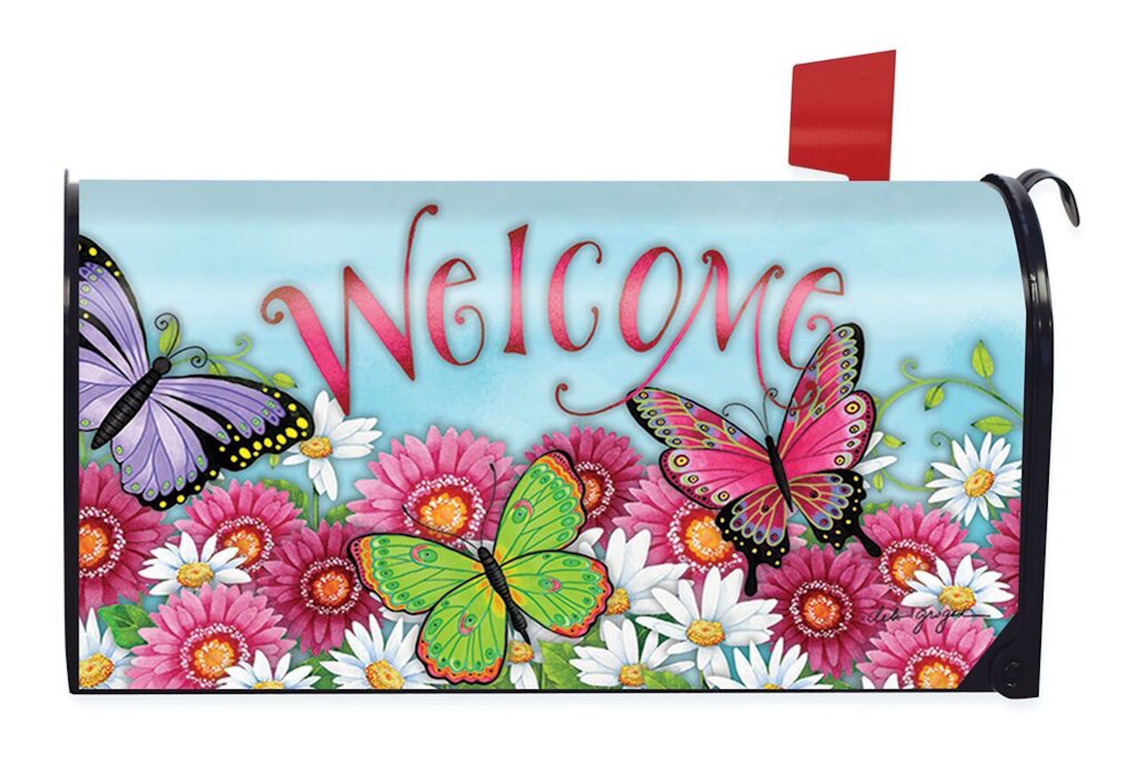 Briarwood Lane Butterfly Welcome Spring Large Mailbox Cover Floral Oversized