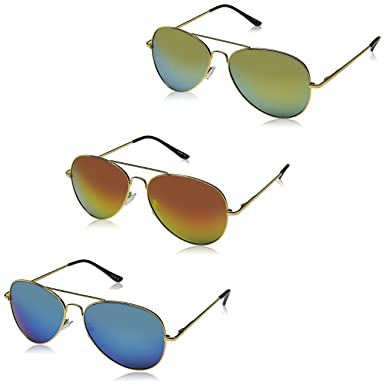 f8df7043fb78 Amazon.com  Premium Full Mirrored Aviator Sunglasses w  Flash Mirror ...