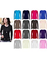 Ladies Womens Plain Long Sleeve Round Neck Top UK Sizes 8 - 18