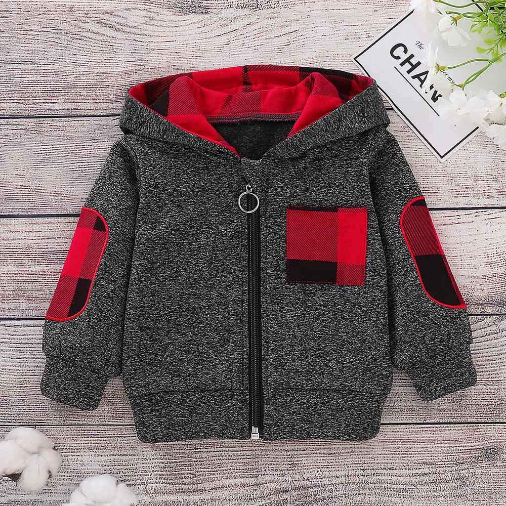1ece898d3 H.eternal Boys Tops Baby Boys Girls Splicing Plaid Hooded Pocket Spring  Winter Warm Sweatshirt Pullover Floral Toddler Baby Clothes Pyjamas Romper  Jumpsuit ...