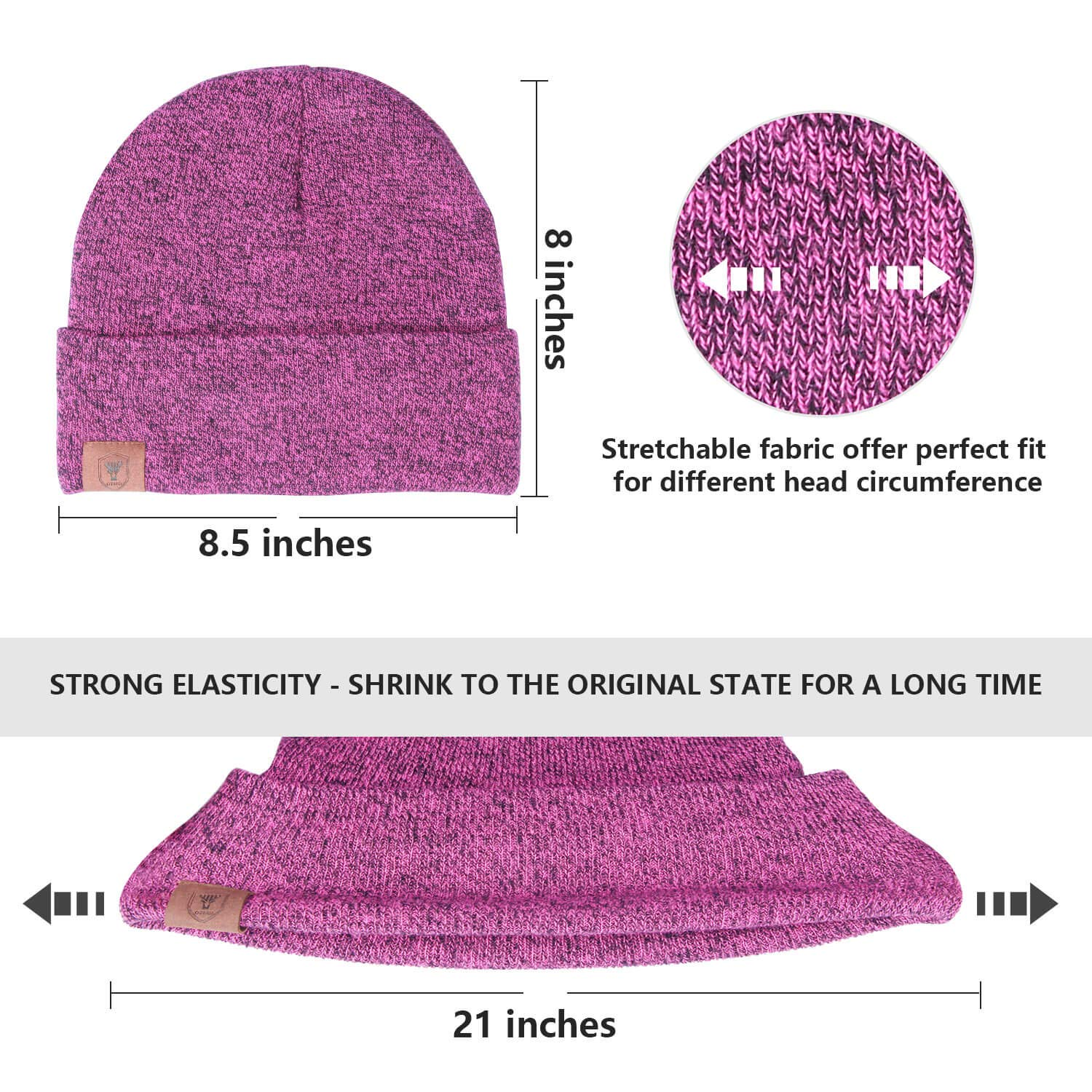OZERO Winter Knit Beanie Hat - Warm Polar Fleece Skull Cap for Men and Women  SHENZHEN larger image f430855b02b6