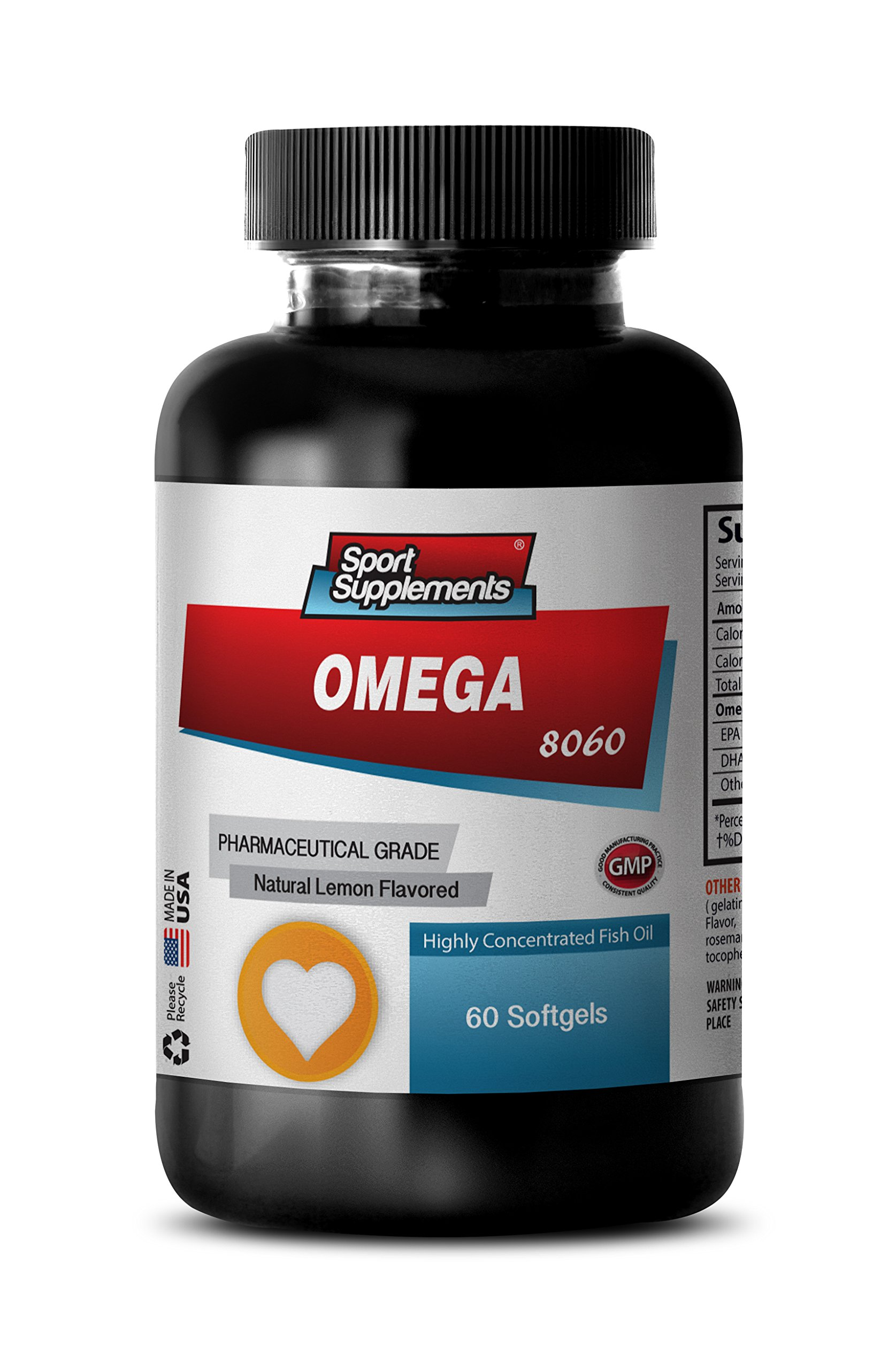 Immune support natures sunshine - OMEGA 8060 FATTY ACIDS 1500mg (Highly Concentrated Fish Oil - Pharmaceutical Grade) - Omega 3 and 6 supplements - 1 Bottle 60 Softgels by Sport Supplements