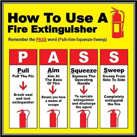 Amazon.com: Cómo utilizar extintor, Amarillo, Rojo ...