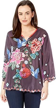 Johnny Was Womens Rayon Printed Tie Neck Blouse