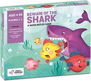 Chalk and Chuckles Beware of The Shark - Fast Reactions Fun Family Game for Kids - Build Attention, Social Skills and Quick Thinking with Multiple Play Ideas