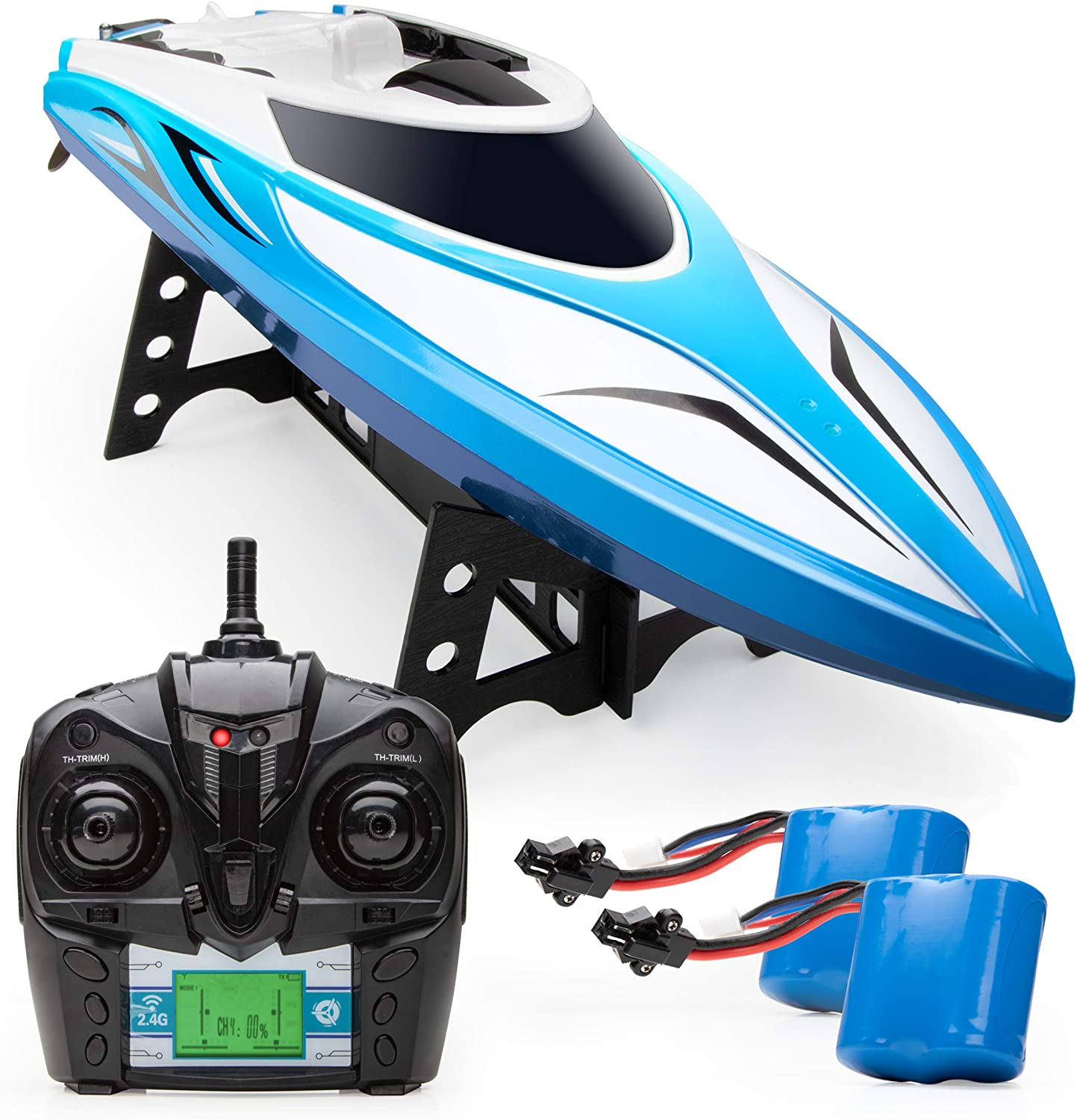 Force1 Velocity Rc Boat H102 Remote Control Boats For Pools And Lakes 20 Mph High Speed Boat Toys Blue